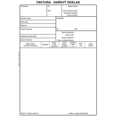 Faktura Daňový Doklad A5 50 Listů Ncr Pt199 Tiskopisy